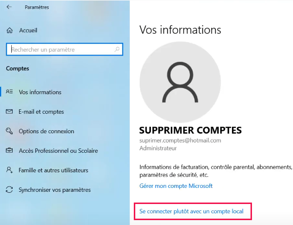 Supprimer un compte Microsoft