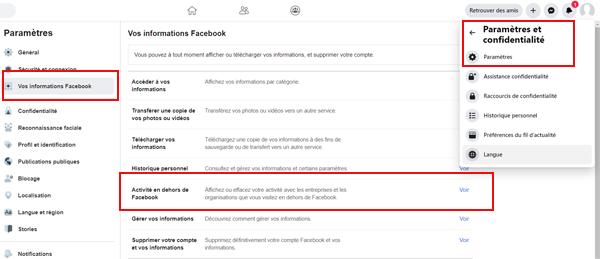 Activité en dehors de Facebook