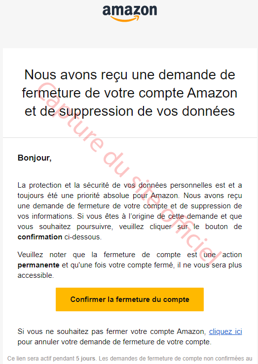 Confirmer la résiliation de votre compte Amazon