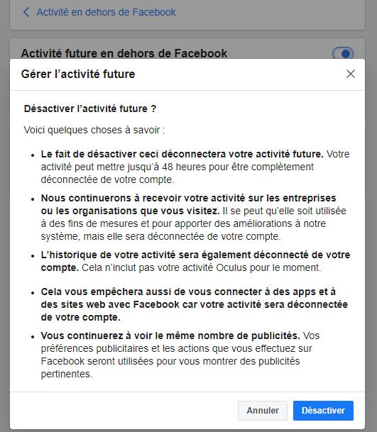 Désactiver l'activité en dehors de Facebook