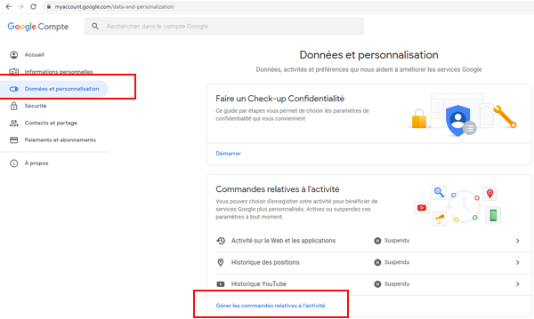 Données et personnalisation compte Google