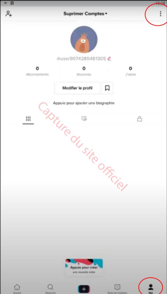 Page de profil Tiktoc Android