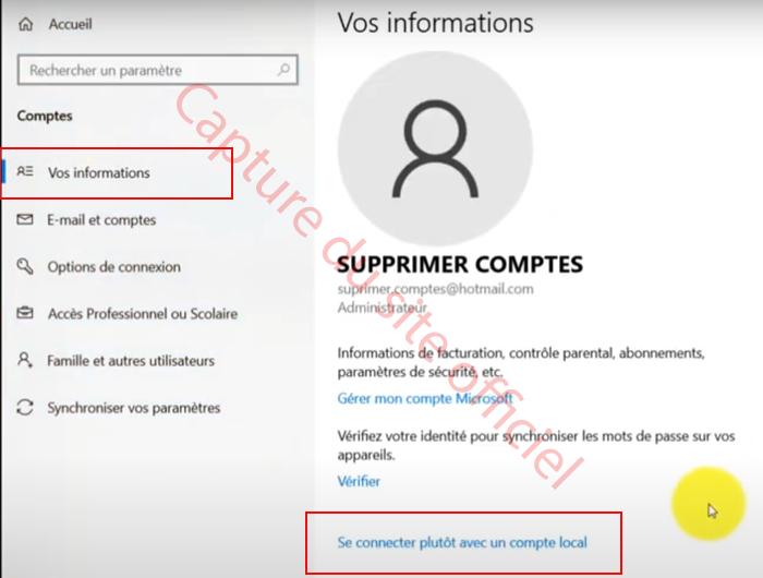 Se connecter à un compte local Windows 10