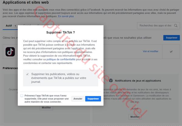 Supprimer un compte Tiktok associé à Facebook