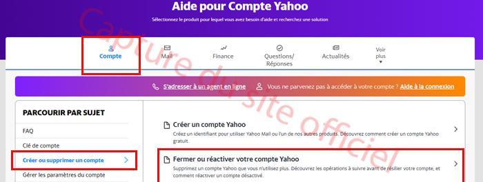 Aide fermer un compte Yahoo