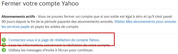 Aide résiliation compte Yahoo