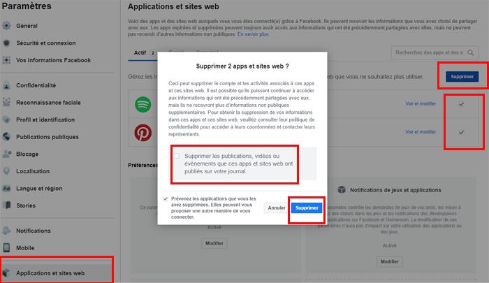 Dissocier les applications et les jeux de Facebook