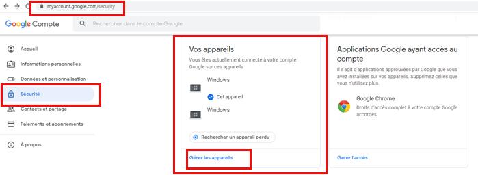 Supprimer les appareils connectés au compte Google