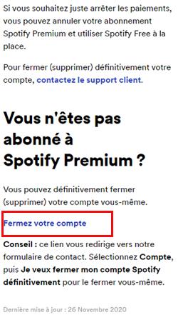 Fermer compte Spotify gratuit ou premium
