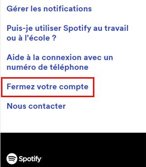 Fermer compte Spotify