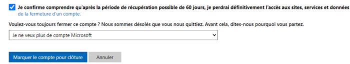 fermer un compte Microsoft Outlook