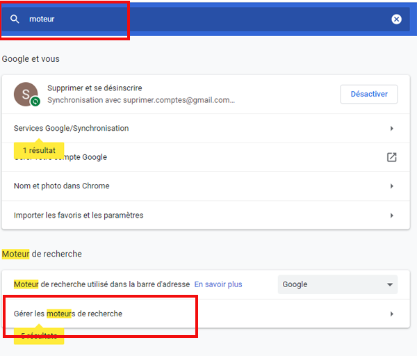 Gérer les moteurs de recherche sur Chrome