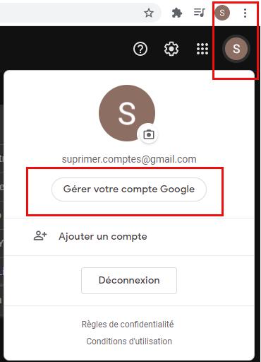 gérer votre compte Google