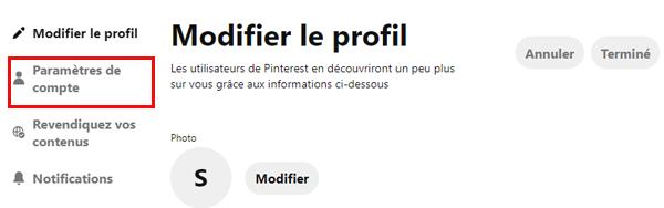 paramètres du compte Pinterest