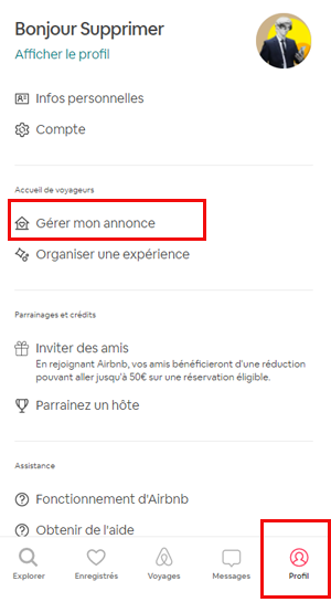 Supprimer annonce Airbnb