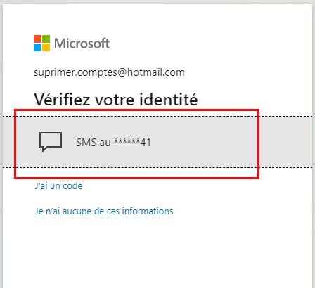 Menu SMS / supprimer un compte Outlook