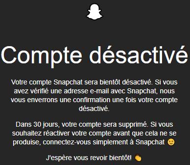 fermer un compte Snapchat du PC