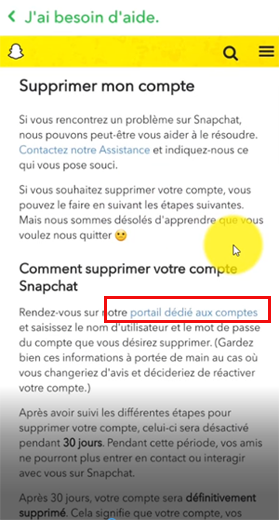 Aide supprimer compte Snapchat