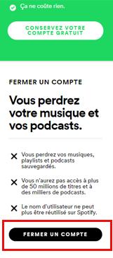 supprimer un compte Spotify