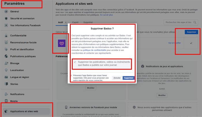 Supprimer l'accès Badoo Facebook
