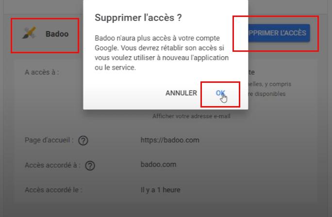 supprimer l'accès Badoo