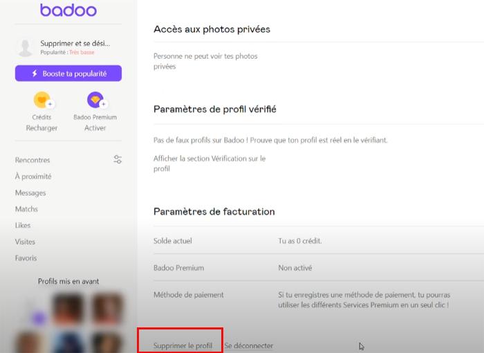 supprimer le profil / Badoo