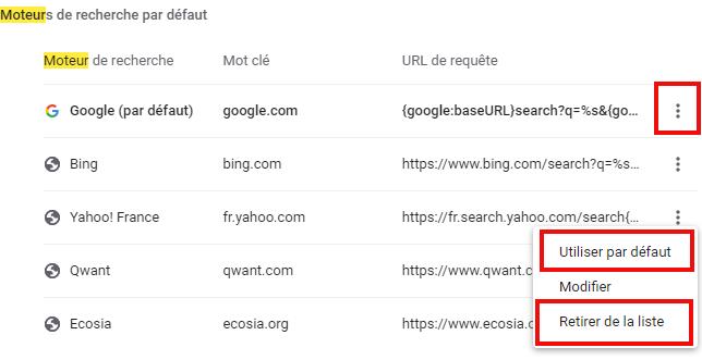 Supprimer moteur de recherche Yahoo