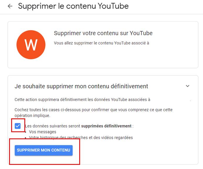 supprimer un compte YouTube