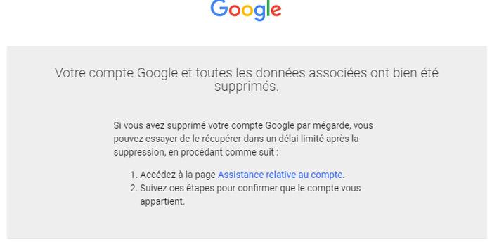 Supprimer un compte Google et Gmail