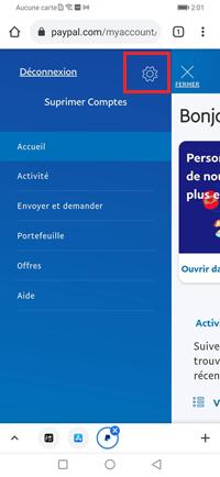 Supprimer un compte PayPal sur Android