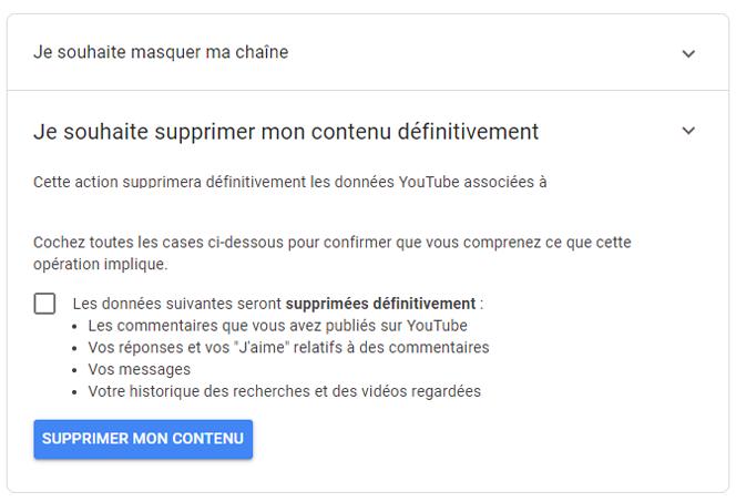 supprimer un contenu YouTube