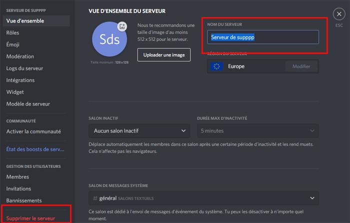 Supprimer un serveur Discord