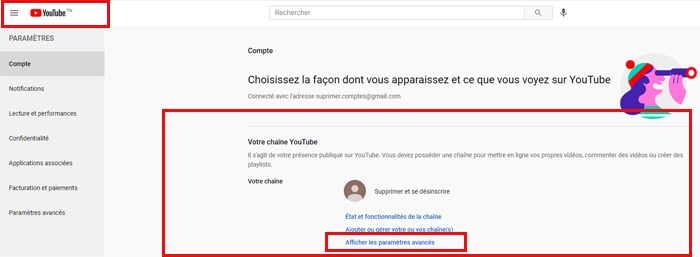 supprimer une chaine YouTube