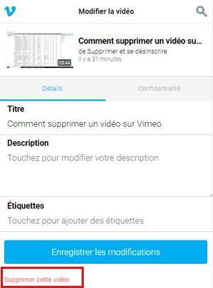 Supprimer une vidéo Vimeo sur smartphone