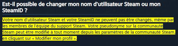 Aide: changer nom de profil et id Steam