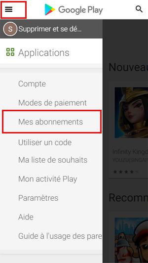 Annuler un abonnement Google Play
