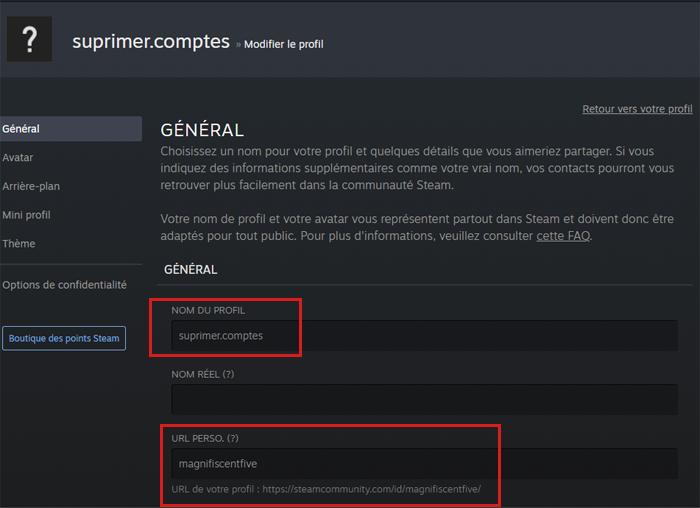 Changer le nom de profil et le ID Steam
