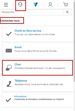 contacter le service client Vistaprint