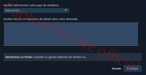 Demande de contact support Steam