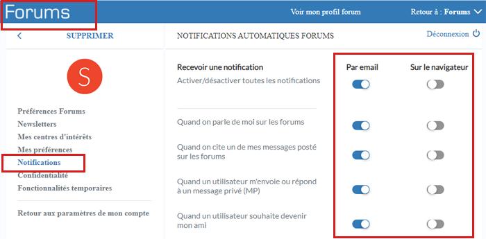 Désactiver les notification Doctissimo forum
