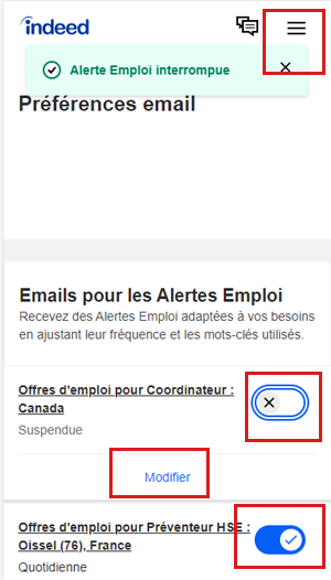 Supprimer les notifications Indeed