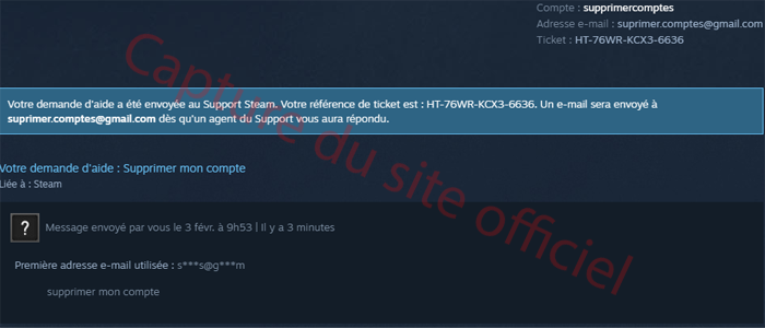Supprimer son compte Steam