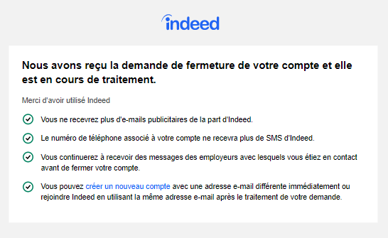 Supprimer un compte Indeed
