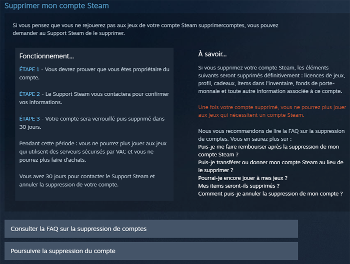 Supprimer un compte Steam