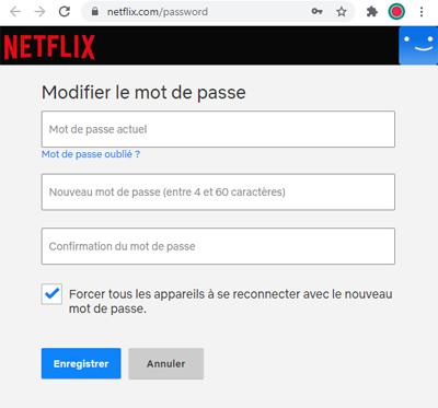 Changer le mot de passe du compte Netflix