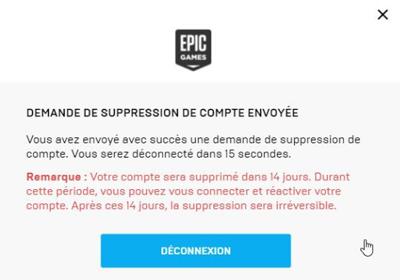 Confirmation pour supprimer un compte Epic Games