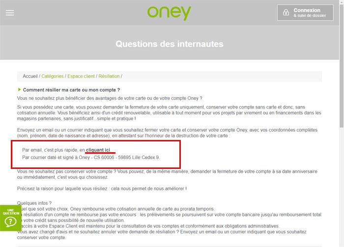 Aide Oney sur la résiliation de la carte bancaire Auchan Oney