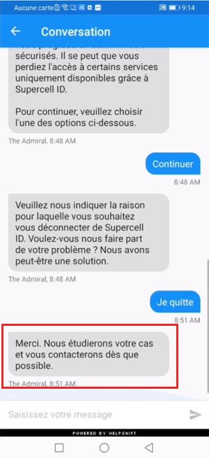 Contacter-nous / supprimer Supercell ID