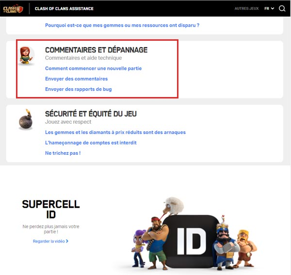 Contacter support d'aide Supercell ID