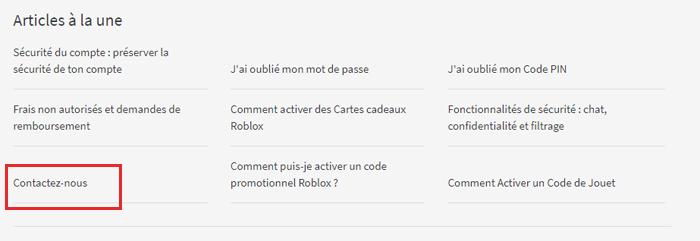 Rubrique Contactez-nous Roblox
